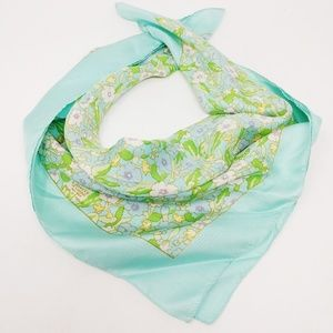LIBERTY OF LONDON SQUARE SCARF 100% SILK BLUE FLOR